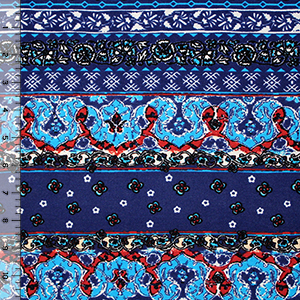 Turquoise Royal Blue Floral Rows Cotton Jersey Blend Knit Fabric