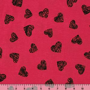 Black Vintage Hearts on Red Jersey Blend Knit Fabric