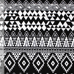 Black White Triangle Ethnic Eye Jersey Blend Knit Fabric