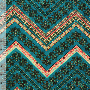 Coral Turquoise Floral Chevron on Teal Blue Cotton Jersey Blend Knit Fabric