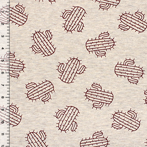 Maroon Cactus on Heather Linen Cotton Jersey Blend Knit Fabric