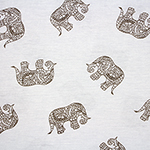 Taupe Drawn Ethnic Elephants on White Cotton Jersey Blend Knit Fabric