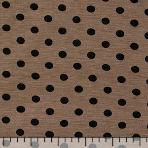 Black Dots on Taupe Cotton Jersey Blend Knit Fabric