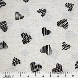 Linear Stamped Hearts on Oatmeal Cotton Jersey Knit Fabric