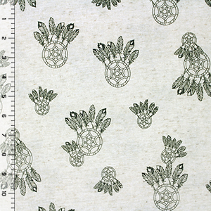 Olive Green Dream Catcher on Oatmeal Cotton Jersey Knit Fabric
