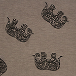 Black Drawn Ethnic Elephants on Taupe Cotton Jersey Blend Knit Fabric