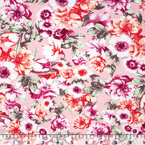 Fuchsia Orange Floral on Pink Cotton Jersey Blend Knit Fabric