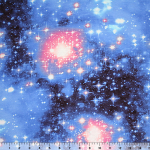 Blue Pink Galaxy and Stars Cotton Jersey Blend Knit Fabric