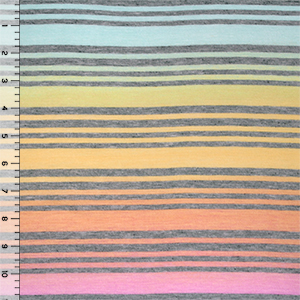 Rainbow Heather Gray Multi Stripe Cotton Jersey Blend Knit Fabric