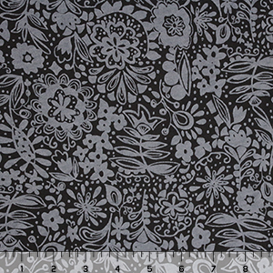 Fresh Produce Hideaway Flowers Charcoal Black Cotton Jersey Knit Fabric