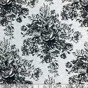 Black Charcoal Floral Silhouettes on Heather Gray Cotton Jersey Blend Knit Fabric