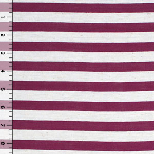 Magenta Oatmeal Half Inch Stripe Cotton Jersey Blend Knit Fabric