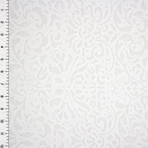 Slightly Flawed White Floral Squares Burnout Cotton Jersey Knit Fabric