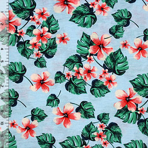 Hawaii Floral on Sky Blue Cotton Jersey Blend Knit Fabric