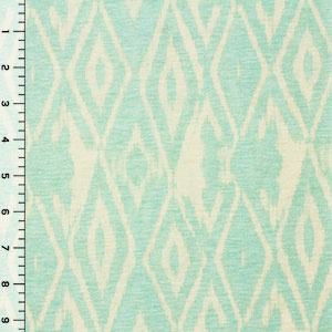 Aqua Ikat on Ivory Cotton Jersey Knit Fabric