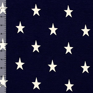 Vintage Stars on Navy Blue Cotton Jersey Blend Knit Fabric