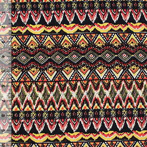 Yellow Red Small Diamond Ethnic Cotton Jersey Blend Knit Fabric