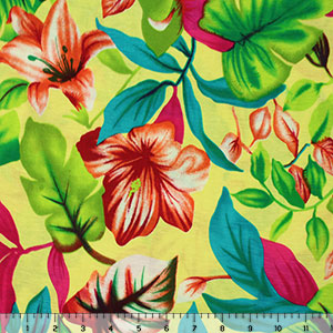 Half Yard Red Fuchsia Blue Tropical Floral on Lemon Cotton Jersey Blend Knit Fabric
