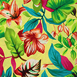Red Fuchsia Blue Tropical Floral on Lemon Cotton Jersey Blend Knit Fabric