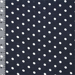 Small Polka Dot on Deep Blue Cotton Jersey Blend Knit Fabric