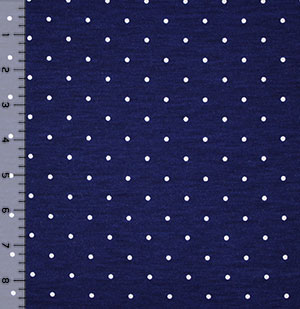 White Small Dot on Blue Cotton Jersey Blend Knit Fabric