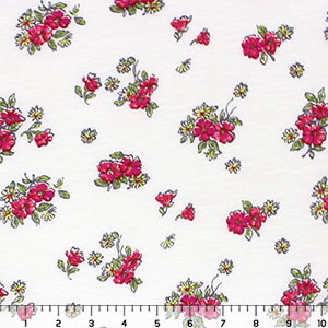 Fuchsia Hand Drawn Floral Cotton Jersey Blend Knit Fabric