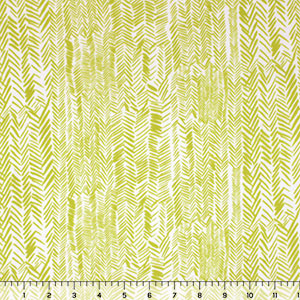 Sour Lemon Thatched Rows Cotton Jersey Blend Knit Fabric