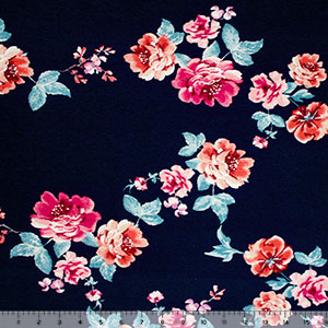 Half Yard Magenta Teal Floral Vines on Blue Cotton Jersey Knit Fabric