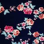 Magenta Teal Floral Vines on Blue Cotton Jersey Knit Fabric