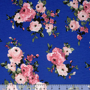 Watercolor Pink Bouquets on Cobalt Blue Cotton Jersey Blend Knit Fabric