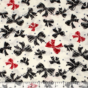 Red Black Bows and Dots on Cream Cotton Jersey Blend Knit Fabric