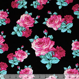 Fuchsia Turquoise Roses on Black Cotton Jersey Blend Knit Fabric