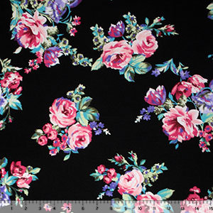 Pink Purple Rose Bouquets on Black Cotton Jersey Blend Knit Fabric