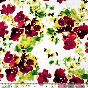 Red Yellow Abstract Watercolor Floral Cotton Jersey Blend Knit Fabric