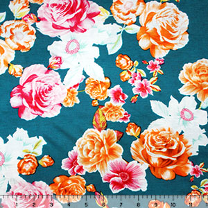 Orange Fuchsia Floral On Teal Cotton Jersey Blend Knit Fabric