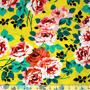 Pinky Roses on Sunshine Cotton Jersey Blend Knit Fabric