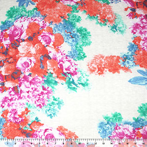 Vintage Coral Fuchsia Garden Cotton Jersey Blend Knit Fabric