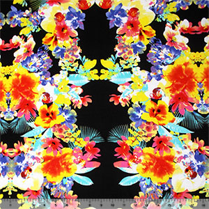 Bright Tropical Floral on Black Cotton Jersey Blend Knit Fabric