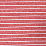 Coral Red White Stripe Tri Blend Cotton Jersey Knit Fabric