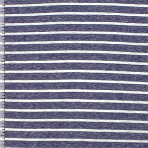 Denim Blue White Stripe Tri Blend Cotton Jersey Knit Fabric