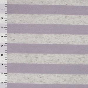 Lavender and Oatmeal Stripe Cotton Jersey Blend Knit Fabric