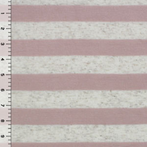 Mauve and Oatmeal Stripe Cotton Jersey Blend Knit Fabric