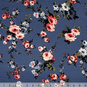 Pink Blue Roses on Blue Brushed Jersey Blend Knit Fabric