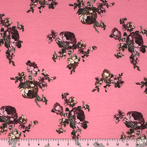 Half Yard Plum Cafe Roses on Pink Brushed Jersey Blend Knit Fabric