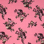 Plum Cafe Roses on Pink Brushed Jersey Blend Knit Fabric