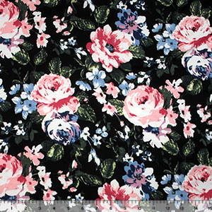 Vintage Fuchsia Blue Floral on Black Brushed Jersey Blend Knit Fabric