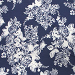 White Rose Floral Silhouettes on Blue Jersey Blend Knit Fabric