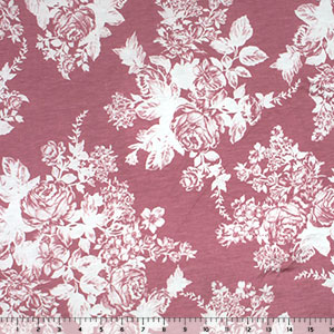 White Rose Floral Silhouettes on Pink Jersey Blend Knit Fabric