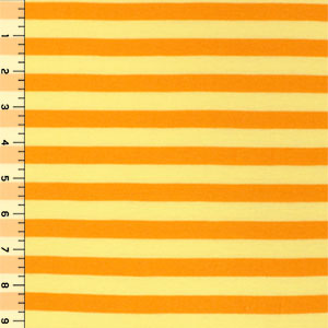 Marigold & Lemon Stripe  Cotton Jersey Blend Knit Fabric