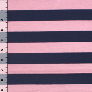 Navy Blue & Pink Stripe  Cotton Jersey Blend Knit Fabric